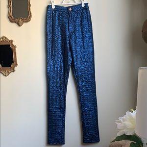 Motel Rocks Blue Crinkled Zip-Up Pants - Size S